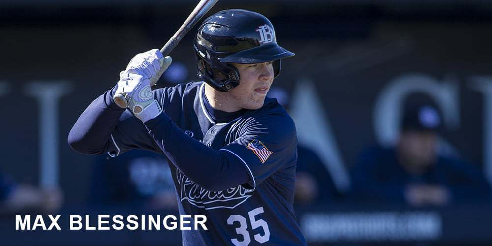 Max Blessinger at bat for DBU. He is on the Frisco RoughRiders Texas Collegiate League roster