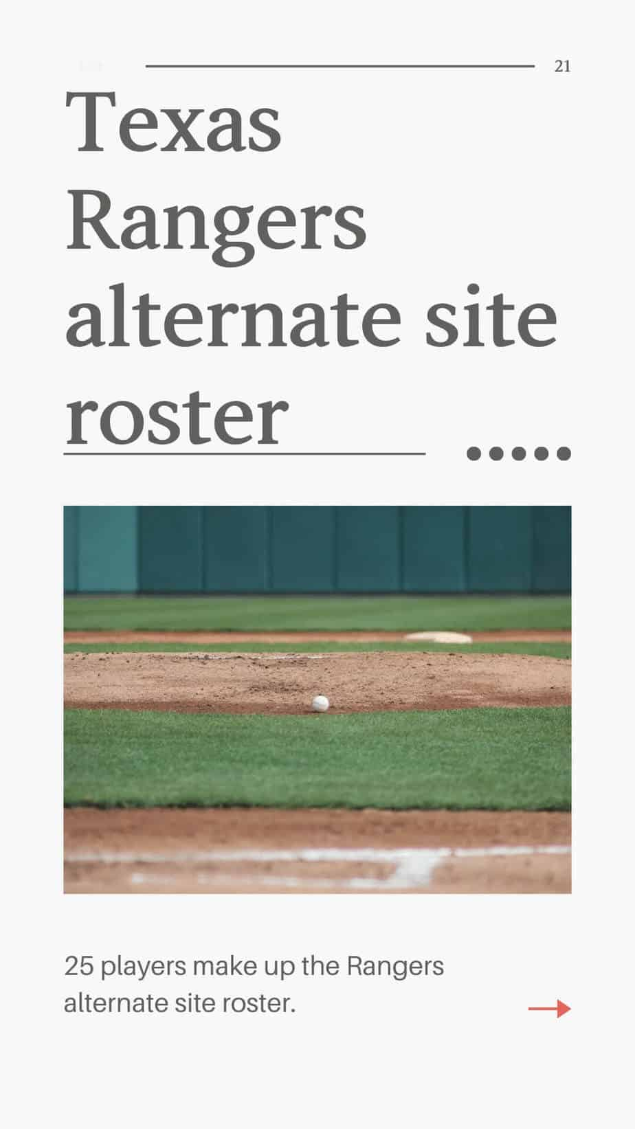 Texas Rangers alternate site roster