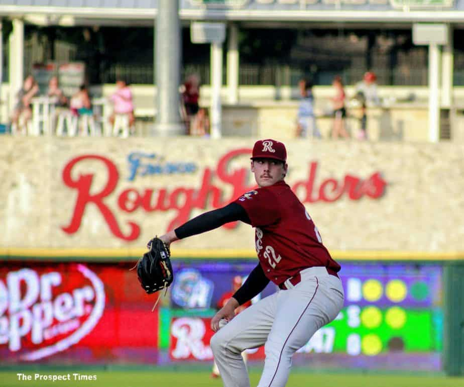 Cole Winn pitching in Frisco, photo by The Prospect Times